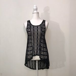 Painted Threads Black Lace Tank Top Size Medium